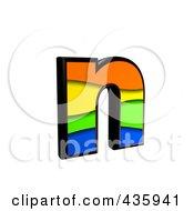 3d Rainbow Symbol Lowercase Letter N by chrisroll