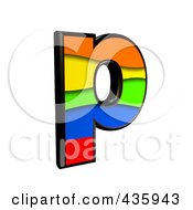 Royalty Free RF Clipart Illustration Of A 3d Rainbow Symbol Lowercase Letter P