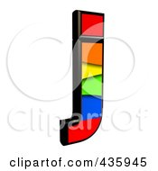 Royalty Free RF Clipart Illustration Of A 3d Rainbow Symbol Lowercase Letter J