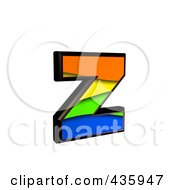 3d Rainbow Symbol Lowercase Letter Z by chrisroll
