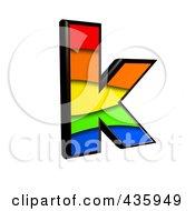 3d Rainbow Symbol Lowercase Letter K by chrisroll