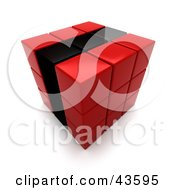 3d Red And Black Puzzle Cube