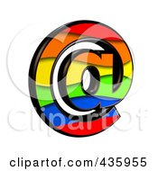 Royalty Free RF Clipart Illustration Of A 3d Rainbow Symbol Email At Arobase by chrisroll