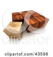 3d Wood Blocks One Lighter Than The Others