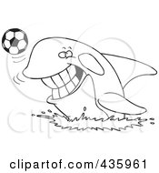 Royalty Free RF Clipart Illustration Of A Line Art Design Of An Orca Playing With A Soccer Ball