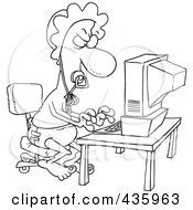 Royalty Free RF Clipart Illustration Of A Line Art Design Of A Baby Man Typing A Complaint Email