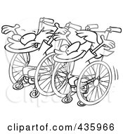 Royalty Free RF Clipart Illustration Of A Line Art Design Of A Boy And Girl Ready For A Wheelchair Race by toonaday