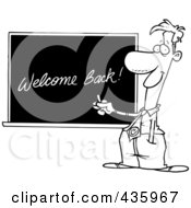 Royalty Free RF Clipart Illustration Of A Line Art Design Of A Male School Teacher Writing Welcome Back On A Chalk Board