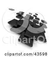Clipart Illustration Of Black 3d Blocks Floating