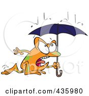 Royalty Free RF Clipart Illustration Of A Frog Dashing Through The Rain With An Umbrella by toonaday