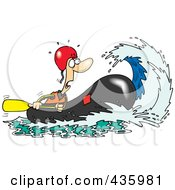 Royalty Free RF Clipart Illustration Of A Wave Rushing Towards A White Water Rafter