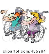 Royalty Free RF Clipart Illustration Of A Boy And Girl Ready For A Wheelchair Race by toonaday