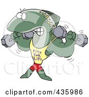 Royalty Free RF Clipart Illustration Of A Strong Fish Lifting Weights And Wearing A Fish For Life Shirt by toonaday