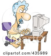 Royalty Free RF Clipart Illustration Of A Baby Man Typing A Complaint Email by toonaday