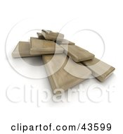 3d Siny Wood Blocks Floating