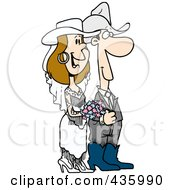 Royalty Free RF Clipart Illustration Of A Western Wedding Couple by toonaday
