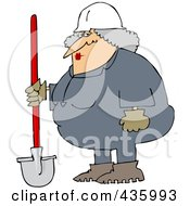 Royalty Free RF Clipart Illustration Of A Female Construction Worker Standing With A Shovel