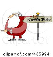 Royalty Free RF Clipart Illustration Of Santa Holding A Hammer And Resting His Arm On A North Pole Sign by djart