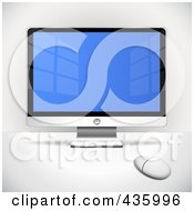 Royalty Free RF Clipart Illustration Of A Flatscreen Computer Monitor And White Mouse On A Table Top by Oligo