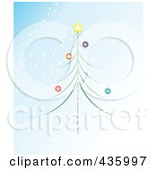 Thin Christmas Tree With Colorful Baubles And A Star Over Snowy Blue