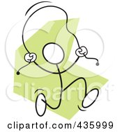 Royalty Free RF Clipart Illustration Of A Stickler Man Usinga Jump Rope 1 by Johnny Sajem