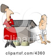 Upset Wife Watching Husband Crawl Our Of The Doghouse Clipart