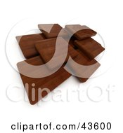 Clipart Illustration Of Mahogany 3d Wood Blocks Floating
