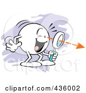 Royalty Free RF Clipart Illustration Of A Moodie Character Finding Something Through A Magnifying Glass Over Purple by Johnny Sajem