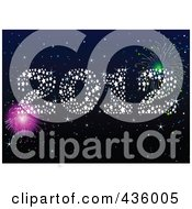 Royalty Free RF Clipart Illustration Of A Starry 2012 With Fireworks In A Night Sky