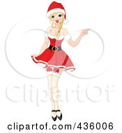 Sexy Blond Christmas Woman In Stockings And A Red Dress
