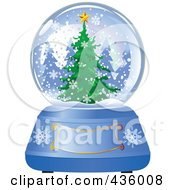 Royalty Free RF Clipart Illustration Of An Evergreen Christmas Tree In A Winter Snow Globe by Pushkin