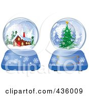 Royalty Free RF Clipart Illustration Of A Digital Collage Of Evergreen And Log Cabin Winter Snow Globes by Pushkin