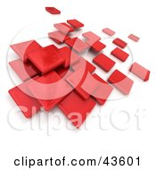 Red 3d Blocks Floating