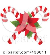 Royalty Free RF Clipart Illustration Of Two Christmas Candy Canes With A Red Poinsettia