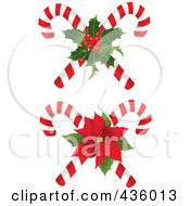 Royalty Free RF Clipart Illustration Of A Digital Collage Of Christmas Candy Canes With Holly And Poinsettia