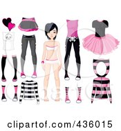 Royalty Free RF Clipart Illustration Of A Digital Collage Of A Black Haired Girl With Pink And Black Apparel by Pushkin