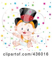 Royalty Free RF Clipart Illustration Of A Happy New Year Baby Surrounded By Colorful Star Confetti