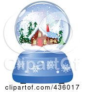 Royalty Free RF Clipart Illustration Of A Log Cabin In A Winter Snow Globe by Pushkin