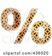 Royalty Free RF Clipart Illustration Of A 3d Patterned Orange Symbol Percent by chrisroll