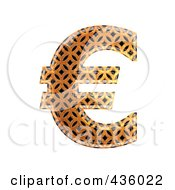 Royalty Free RF Clipart Illustration Of A 3d Patterned Orange Symbol Euro by chrisroll