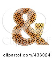 Royalty Free RF Clipart Illustration Of A 3d Patterned Orange Symbol Ampersand by chrisroll