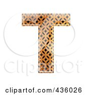 Royalty Free RF Clipart Illustration Of A 3d Patterned Orange Symbol Capital Letter T by chrisroll