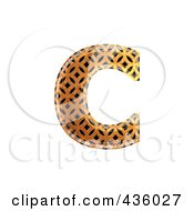 Royalty Free RF Clipart Illustration Of A 3d Patterned Orange Symbol Lowercase Letter C by chrisroll