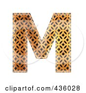 Royalty Free RF Clipart Illustration Of A 3d Patterned Orange Symbol Capital Letter M by chrisroll