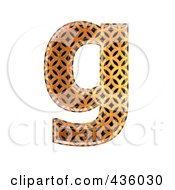 Royalty Free RF Clipart Illustration Of A 3d Patterned Orange Symbol Lowercase Letter G by chrisroll