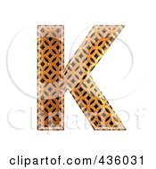 Royalty Free RF Clipart Illustration Of A 3d Patterned Orange Symbol Capital Letter K by chrisroll