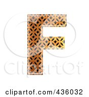Royalty Free RF Clipart Illustration Of A 3d Patterned Orange Symbol Capital Letter F by chrisroll