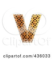 Royalty Free RF Clipart Illustration Of A 3d Patterned Orange Symbol Lowercase Letter V by chrisroll