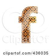 Royalty Free RF Clipart Illustration Of A 3d Patterned Orange Symbol Lowercase Letter F by chrisroll