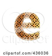 Royalty Free RF Clipart Illustration Of A 3d Patterned Orange Symbol Lowercase Letter E by chrisroll